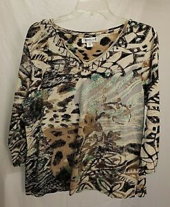 Coldwater-Creek-Size-Large-Multi-Colored-3-4-Sleeve-Beaded-Woman-039-s-Top