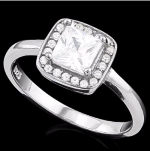 IF  1,52 CWT DIAMOND HALO ENGAGEMENT RING BRIDAL SILVER WHITE GOLD   F