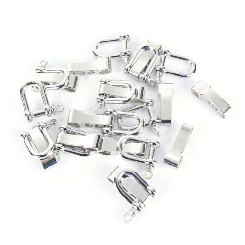 2 Pcs Stainless Steel U Shaped Shackle Buckle Adjustable Paracord Bracelets JP