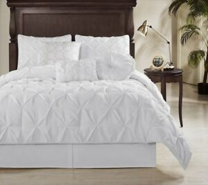 Sydney 7-Piece Pintuck Bedding Duvet Cover Set Bed-In-A-Bag White