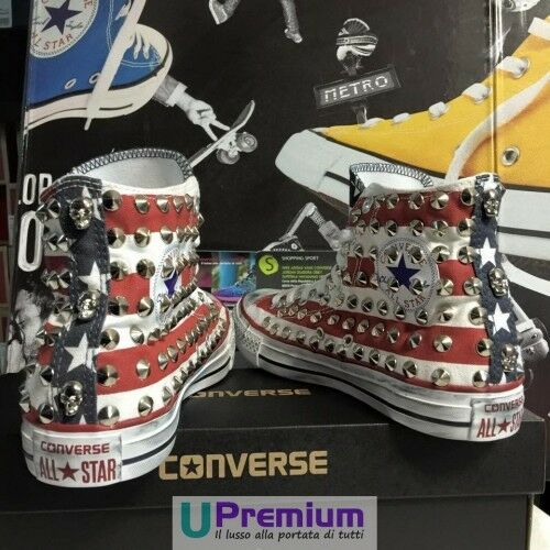 Personalizzato All prodotto H Star Converse Borchiate Scarpe Usa Bandiera Alte gORWW6q