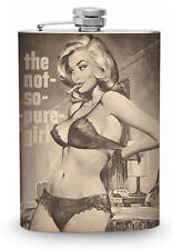Not So Pure Girl Flask 8oz Silver Metal Whiskey Drinking Flasks Vintage Pin up