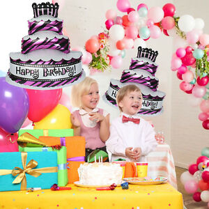 "28"" Happy Birthday Cake Shape Foil Helium Balloon Birthday Party Decoration Gift"