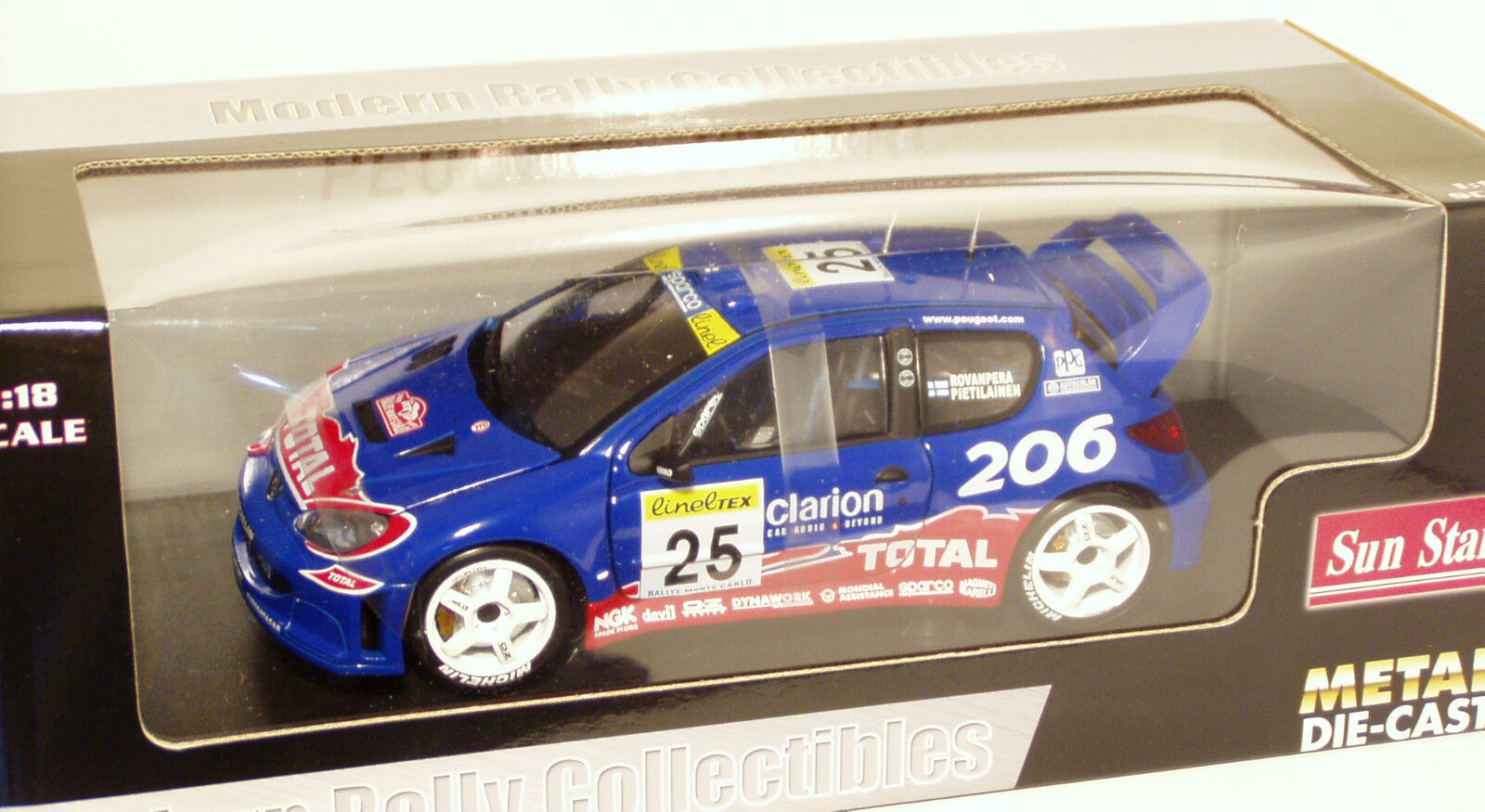 1 18 Peugeot 206 WRC  Clarion  Rally Monte Carlo 2002  H.Rovanpera