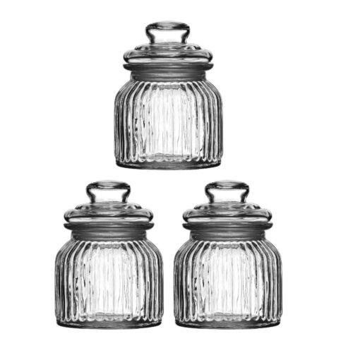 Set of 3 x 680ml Vintage Glass Storage Jars Ribbed Tea Coffee Sugar