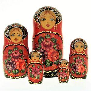 5 Poupées Russes H17 Matriochka Peint Main Signé Nested Doll Matrioshka Gigognes