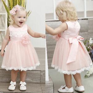 Baby Kinder Blumen Mädchen Spitzekleid Party Taufe Hochzeit Tüll Tutu Festkleid