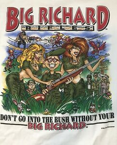 Rare-90s-BIG-RICHARD-RIFLES-Dont-go-into-the-BUSH-Without-Graphic-T-Shirt-L-Sexy