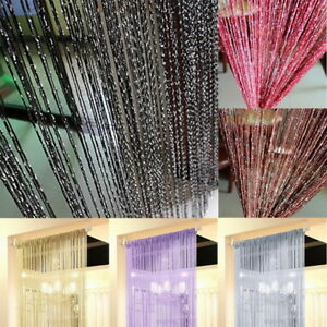 UK-String-Door-Curtain-Fly-Screen-Room-Divider-Window-Panel-Tassel-Fringe-Beads