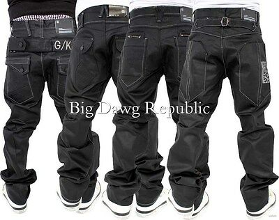 G-King Mens Boys Star Black Coated Loose Fit Jeans Baggy Is Time Money Hip Hop