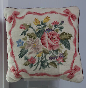 14-5-034-Handmade-Embroidered-Wool-Needlepoint-Pillow-Victorian-Flowers