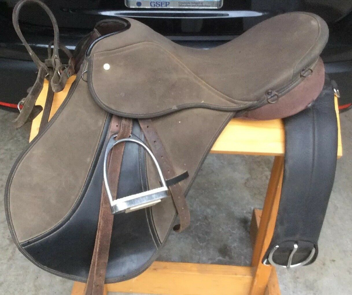 English Saddle, Roughout Seat, Irons, Bridle, Girth