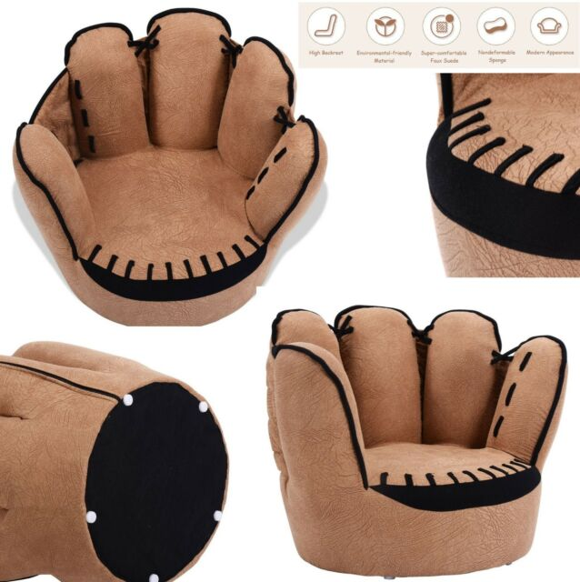 Prime Kids Sofa Children Chair Furniture Armrest Baseball Glove Shape Couch Brown Foam Inzonedesignstudio Interior Chair Design Inzonedesignstudiocom