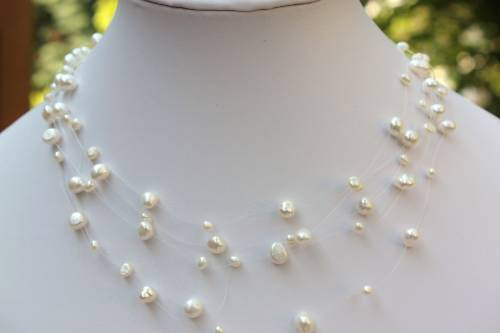 AF echt Süßwasser Perlen Schmuck Brautschmuck Halskette Collier Hochzeitsschmuck