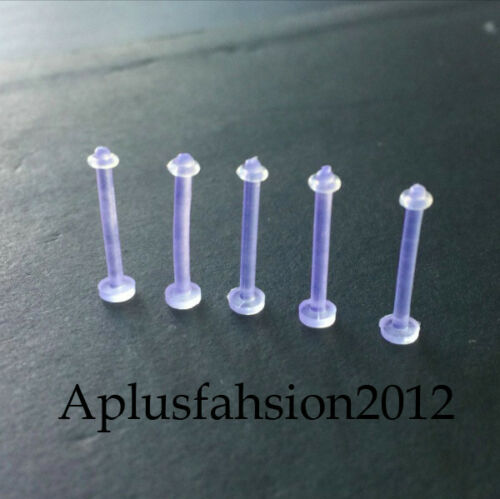 5 or more 14G 15mm CLEAR ACRYLIC BIOPLAST INVISIBLE TONGUE RETAINER RING BARBELL