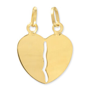 14k-Yellow-Gold-Couple-Broken-Breakable-Split-Heart-Pendant-Charm-valentines-day