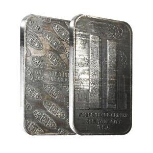 1 oz MTB World Trade Center Silver Vintage Bar .999 Fine