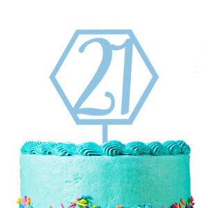 Pleasing Hexagon Number 21 Acrylic Cake Topper Happy 21St Birthday Cake Funny Birthday Cards Online Alyptdamsfinfo