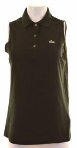 LACOSTE-Womens-Polo-Shirt-Sleeveless-EU-42-Large-Black-Cotton-Slim-Fit-GR30