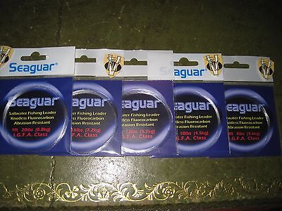 Fluorocarbon 9 Foot Tapered Leaders 8 to 20Lbs Seaguar Saltwater I.G.F.A