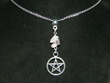 "Rose Quartz Pentagram Pendant Silver Chain Necklace 16"" Pagan Wicca Occult"