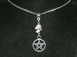Gemstone-Pentagram-Pendant-Silver-Chain-Necklace-16-034-Pagan-Wicca-Occult-Pentacle