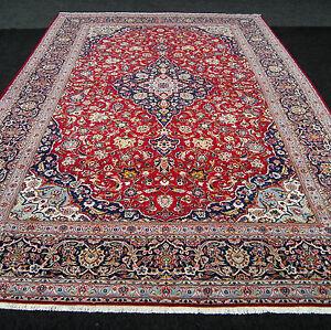 Antiker Orient Teppich 386 X 270 Cm Alter Perserteppich Blau Rot