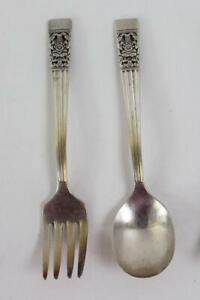 1936 Oneida Community Silver Plate Coronation Muster Kleinkind Löffel & Gabel Set
