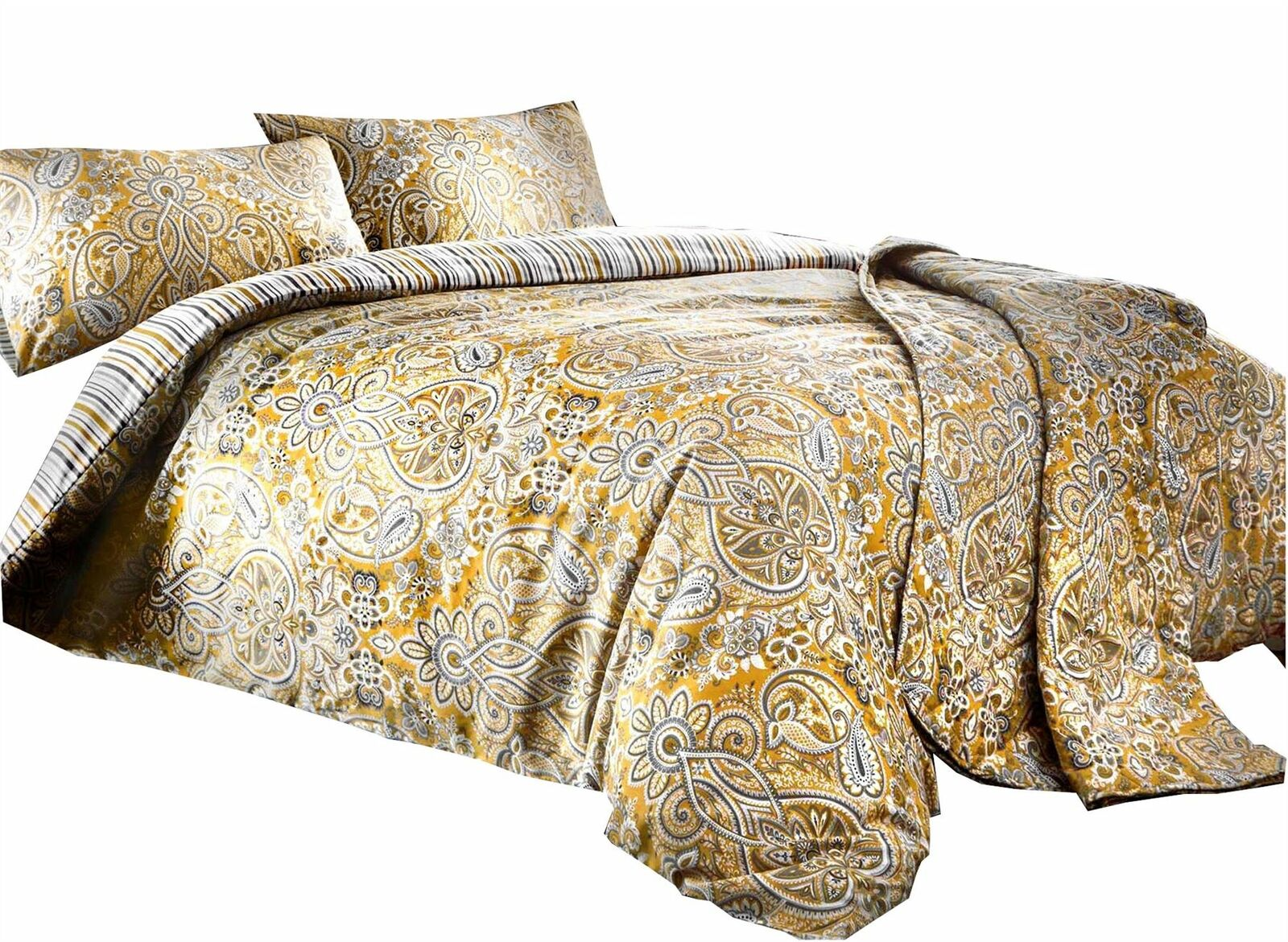 PAISLEY STRIPED OCHRE gold COTTON BLEND KING SIZE DUVET COVER &RING TOP CURTAINS