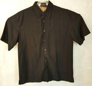 Milano-Bay-Men-039-s-Button-up-Short-Sleeve-Shirt-size-L-Black-pin-stripe-summer