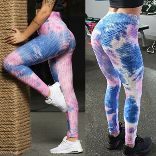 Womens Anti-Cellulite Yoga Pants Leggings Butt Lift Ruched Sports Gym Fitness UK