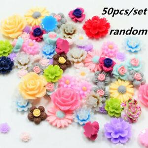 50x-Mixed-Color-Resin-Beads-Rose-Flower-Flat-Back-Embellishment-Craft-DIY-Decor