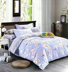 4 Tlg Bettwäsche Baumwolle Bettbezug Kissenbezug Bettlaken Blumen