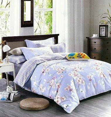 4 Tlg Bettwäsche Baumwolle Bettbezug Kissenbezug Bettlaken Blumen 220x220 Cm Bettwaren, -wäsche & Matratzen Möbel & Wohnen