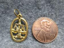 Zodiac Astrology Libra The Balance Gold Tone Oval Pendant Charm w/ Jump Ring