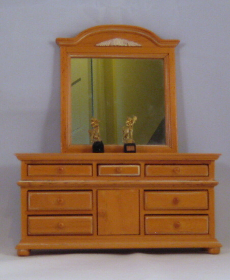 Dollhouse Miniature- Wood dresser and mirror