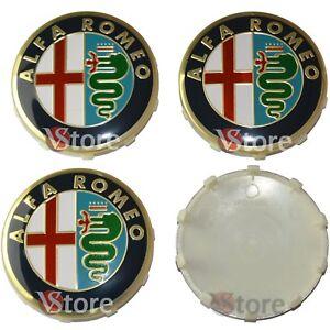 4-Tappi-ALFA-ROMEO-Giulietta-159-146-157-Fregi-CERCHI-60mm-Coprimozzo-Gold