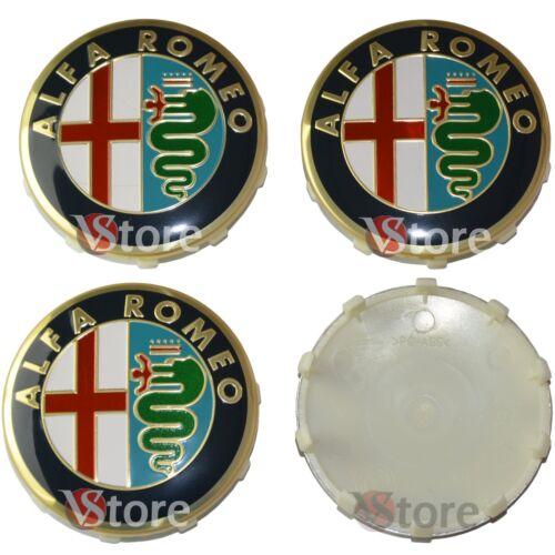 4 Tappi ALFA ROMEO Giulietta 159 146 157  Fregi CERCHI 60mm Coprimozzo Gold