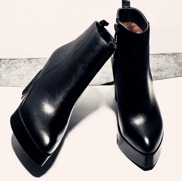 Womens Platform High Wedge Heel Pointed Toe Ankle Boots shoes High Top Ske15