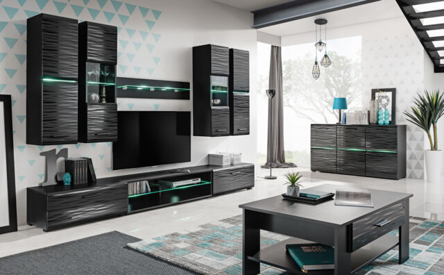 Living Room High Gloss Furniture Full Set Display Wall Unit Modern Tv Cabinet