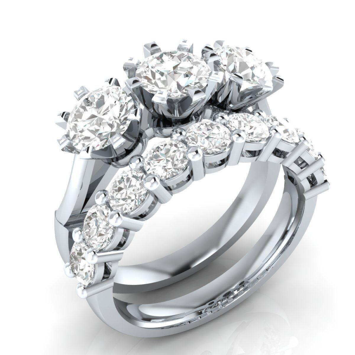 Certified 3.75Ct White Round Cut Diamond 14K gold Engagement & Wedding Ring Set