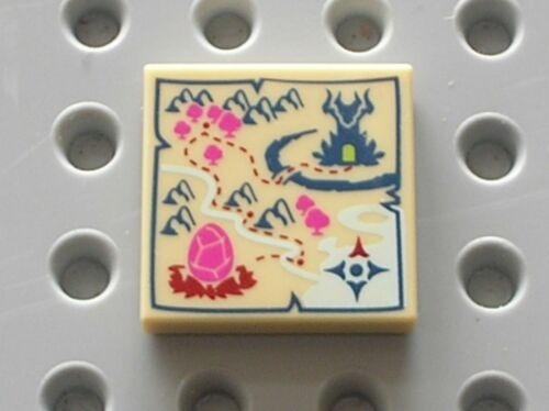 LEGO Tile 2 x 2 Groove with Map Dragon Egg Location Ref 3068bpb0959 Set 41175