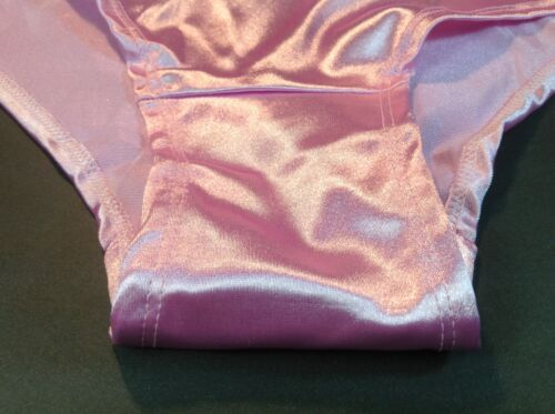 Pink Satin Soft Silky W//Decoration Women Panties,Briefs Bikinis ILUSION Size M