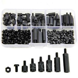 M3-Nylon-Black-Hex-M-F-Spacers-Screws-Nuts-Assorted-Kit-Standoff