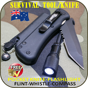 PROFESSIONAL SURVIVAL TOOL TACTICAL MULTI FUNCTION SELF DEFENSE KNIFE-TORCH-FLNT