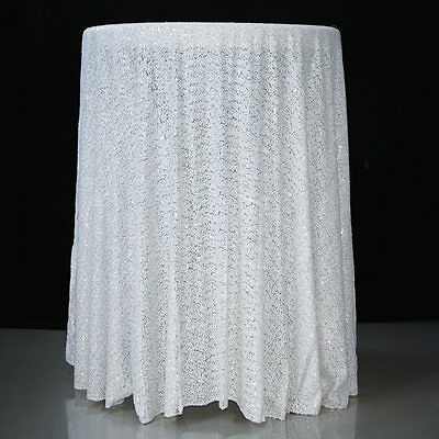"""Round Sequin Tablecloth Overlay  90"""" 132"""" Gold Silver White & Black"""