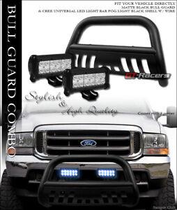 Matte Blk Bull Bar Bumper Guard 36w Cree Led Light For 99 04 Ford F250 Excursion Ebay