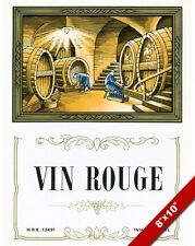VINTAGE FRENCH RED WINE CELLAR VIN ROUGE VINYARD AD POSTER ART REAL CANVAS PRINT