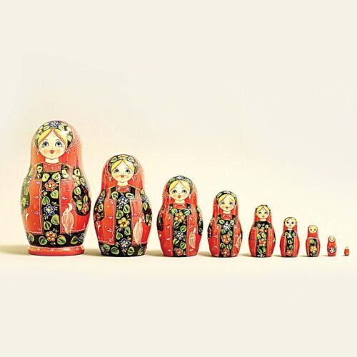 Nesting Dolls Russian Wooden Art 9 Piece 662 Matryoshka Handmade