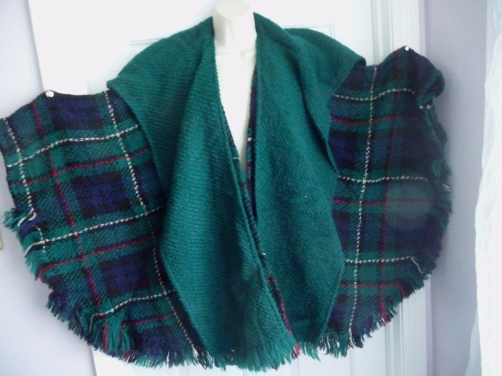 Boyne Valley Weavers Poncho Cape Sweater Irish Ireland Made Tweed Attached Scarf